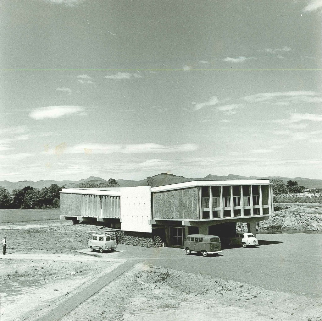 Completed Computer Centre view towards Port Hills - 1967