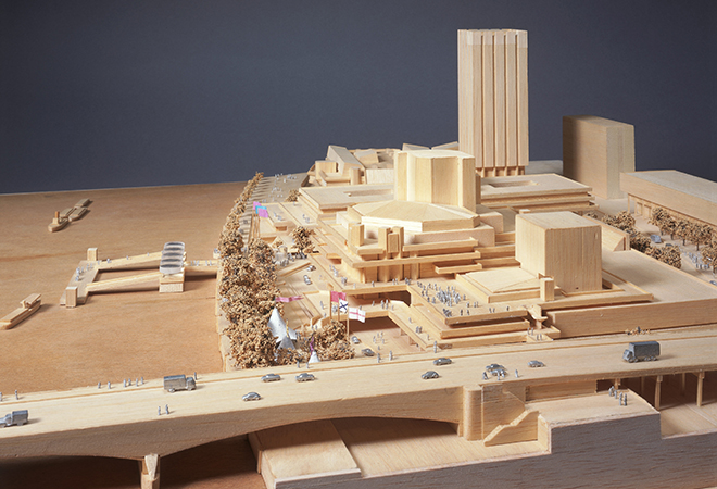 Royal National Theatre, South Bank, London: model showing the theatre in relation to surrounding buildings, Waterloo Bridge and the River Thames